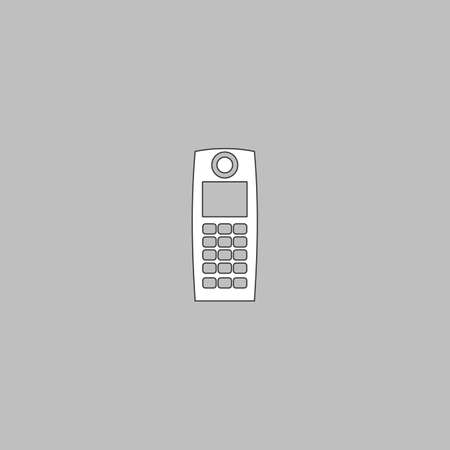 walkie talkie Simple line vector button. Thin line illustration icon. White outline symbol on grey background Illustration