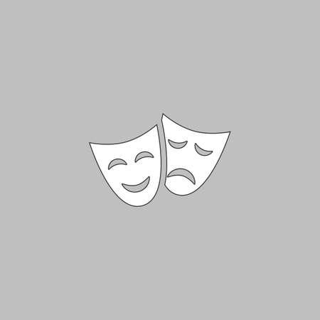 moods: masks Simple line vector button. Thin line illustration icon. White outline symbol on grey background Illustration