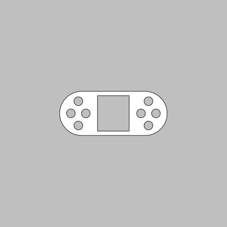 portable console: Game Console Simple line vector button. Thin line illustration icon. White outline symbol on grey background