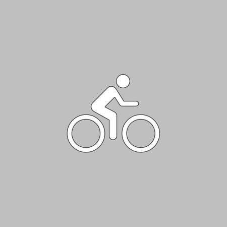 vector cartoons: Cycling Simple line vector button. Thin line illustration icon. White outline symbol on grey background