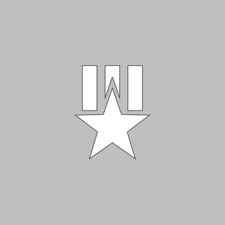 communistic: Order star Simple line vector button. Thin line illustration icon. White outline symbol on grey background Illustration