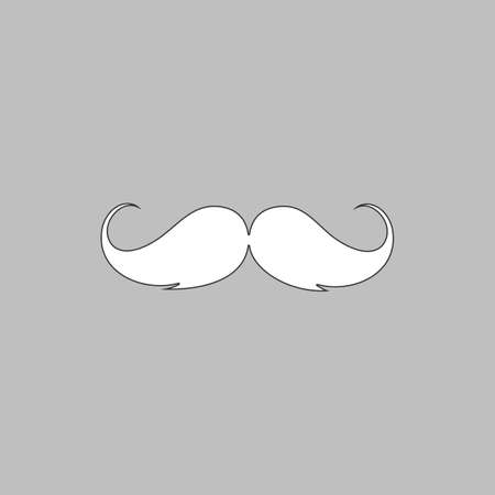 chaplin: Mustache Simple line vector button. Thin line illustration icon. White outline symbol on grey background