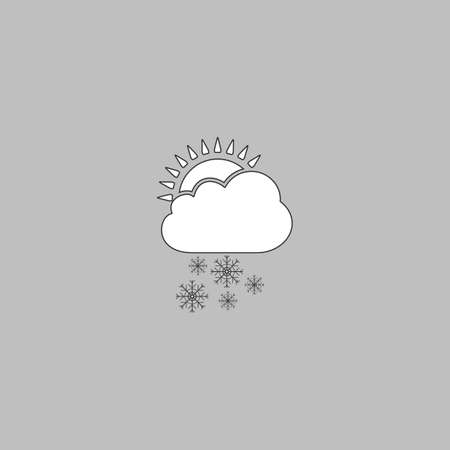 forecasting: Cloud snow Simple line vector button. Thin line illustration icon. White outline symbol on grey background