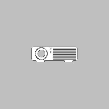 Projector Simple line vector button. Thin line illustration icon. White outline symbol on grey background Illustration