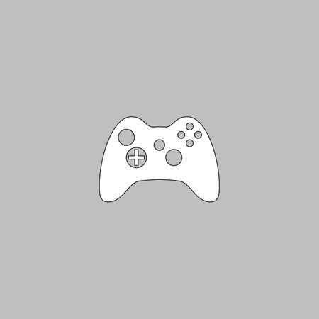 Gamepad Simple line vector button. Thin line illustration icon. White outline symbol on grey background Illustration