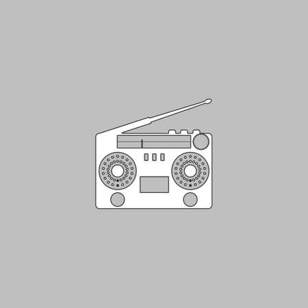 electronic 80s: boombox Simple line vector button. Thin line illustration icon. White outline symbol on grey background