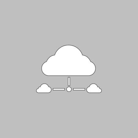 IT cloud Simple line vector button. Thin line illustration icon. White outline symbol on grey background