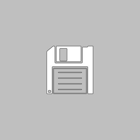 outdated: Floppy disk Simple line vector button. Thin line illustration icon. White outline symbol on grey background