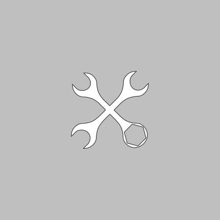 Tools Simple line vector button. Thin line illustration icon. White outline symbol on grey background