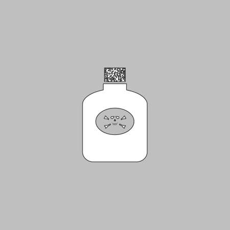 poison symbol: Poison Simple line vector button. Thin line illustration icon. White outline symbol on grey background Illustration