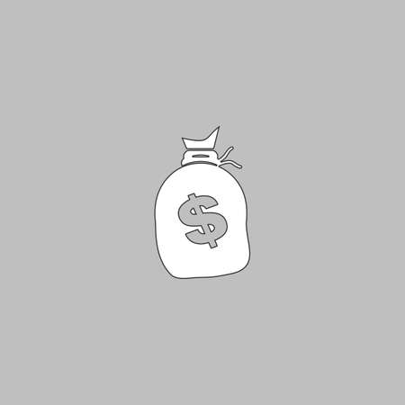 money sack: Money bag Simple line vector button. Thin line illustration icon. White outline symbol on grey background