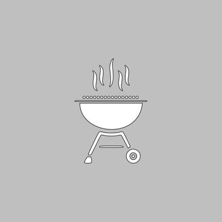 barbecue Simple line vector button. Thin line illustration icon. White outline symbol on grey background