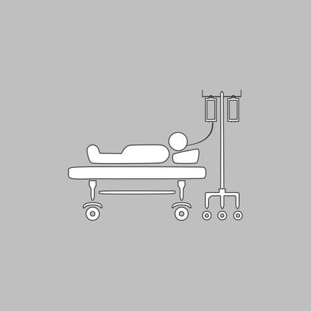 hospitalized: hospitalized Simple line vector button. Thin line illustration icon. White outline symbol on grey background