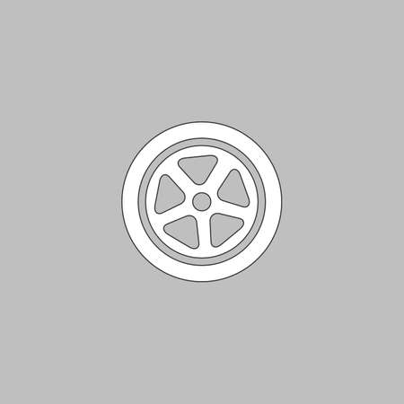 caoutchouc: wheel Simple line vector button. Thin line illustration icon. White outline symbol on grey background