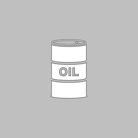 shareholding: Oil barrels Simple line vector button. Thin line illustration icon. White outline symbol on grey background