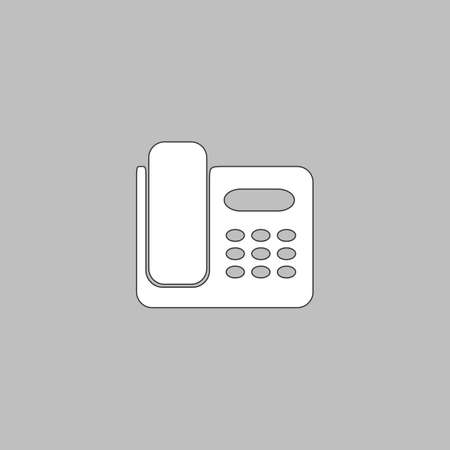 parley: Office Phone Simple line vector button. Thin line illustration icon. White outline symbol on grey background Illustration
