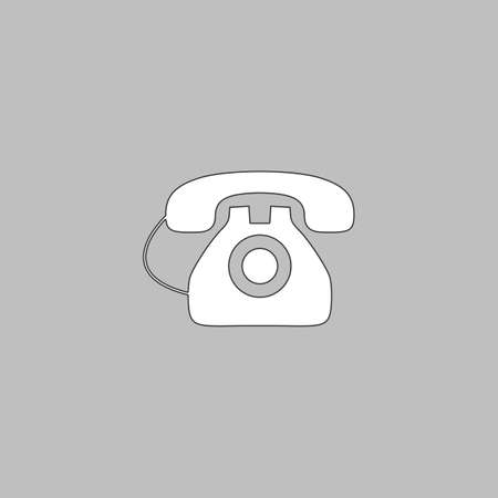 old telephone: old telephone Simple line vector button. Thin line illustration icon. White outline symbol on grey background