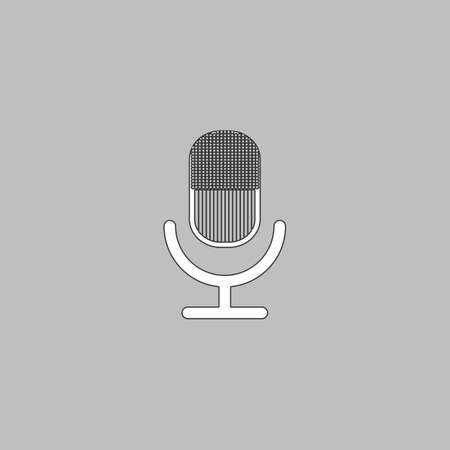 microphone Simple line vector button. Thin line illustration icon. White outline symbol on grey background Illustration