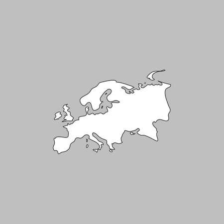 eurasia: Eurasia Simple line vector button. Thin line illustration icon. White outline symbol on grey background Illustration