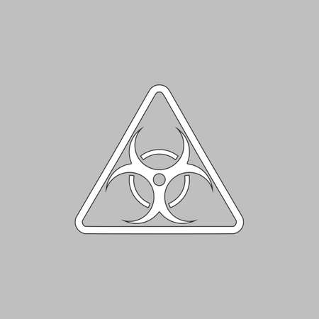 the bacteria signal: Biohazard Simple line vector button. Thin line illustration icon. White outline symbol on grey background Illustration