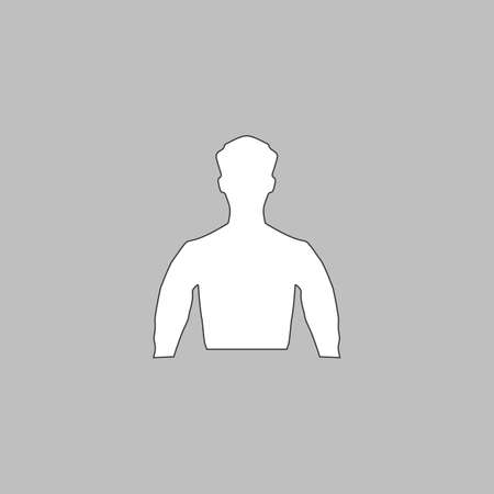 Unknown male Simple line vector button. Thin line illustration icon. White outline symbol on grey background