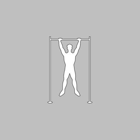 telamon: athlete Simple line vector button. Thin line illustration icon. White outline symbol on grey background