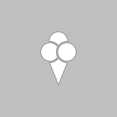 Ice cream Simple line vector button. Thin line illustration icon. White outline symbol on grey background Illustration