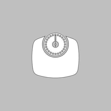 analog weight scale: Bathroom scale Simple line vector button. Thin line illustration icon. White outline symbol on grey background