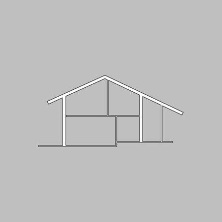 tenancy: cottage Simple line vector button. Thin line illustration icon. White outline symbol on grey background