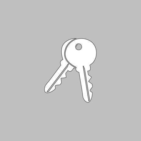 Keys Simple line vector button. Thin line illustration icon. White outline symbol on grey background Illustration