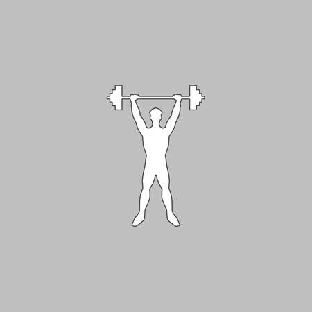 strongman: Strongman Simple line vector button. Thin line illustration icon. White outline symbol on grey background Illustration