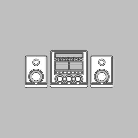 large group of objects: Sound System Simple line vector button. Thin line illustration icon. White outline symbol on grey background Illustration