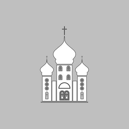 Church Simple line vector button. Thin line illustration icon. White outline symbol on grey background Illustration