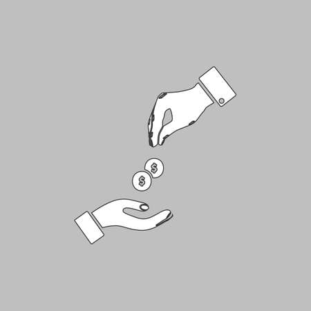 avarice: alms Simple line vector button. Thin line illustration icon. White outline symbol on grey background Illustration