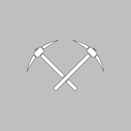 pick ax: icebreaker Simple line vector button. Thin line illustration icon. White outline symbol on grey background Illustration