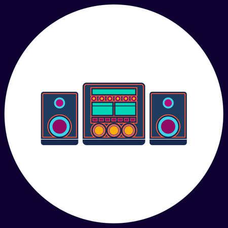 Sound System Simple vector button. Illustration symbol. Color flat icon Vettoriali