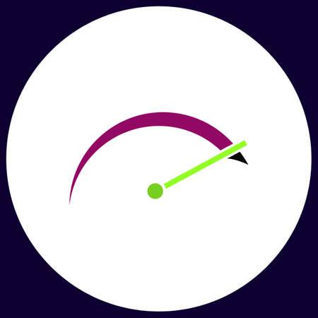 tachometer Simple vector button. Illustration symbol. Color flat icon Illustration