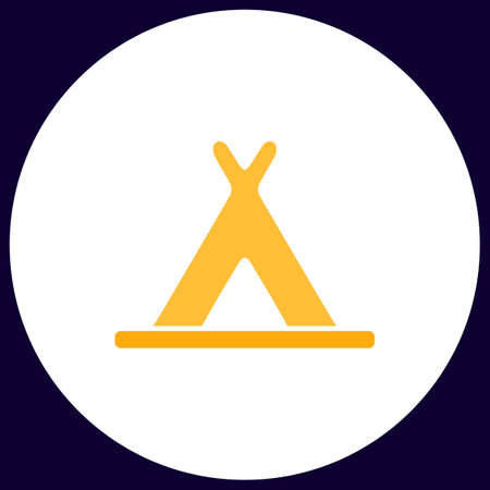 wigwam: Wigwam Simple vector button. Illustration symbol. Color flat icon