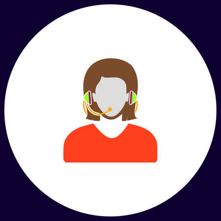 call centre girl: telephonist Simple vector button. Illustration symbol. Color flat icon