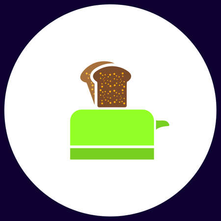 Toaster Simple vector button. Illustration symbol. Color flat icon Illustration