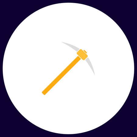 Pickax Simple vector button. Illustration symbol. Color flat icon Illustration