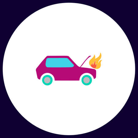 insure: Car fire Simple vector button. Illustration symbol. Color flat icon