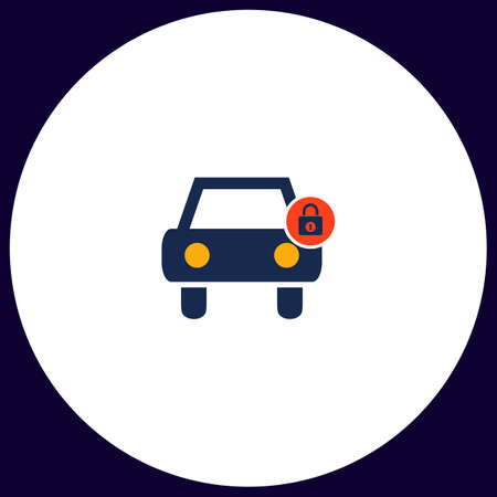 Car lock Simple vector button. Illustration symbol. Color flat icon