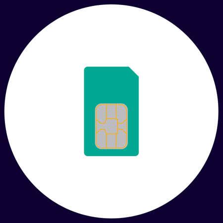 Sim card Simple vector button. Illustration symbol. Color flat icon Illustration