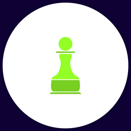 Chess Pawn Simple vector button. Illustration symbol. Color flat icon Illustration