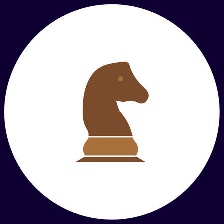 chess rook: Chess knight Simple vector button. Illustration symbol. Color flat icon