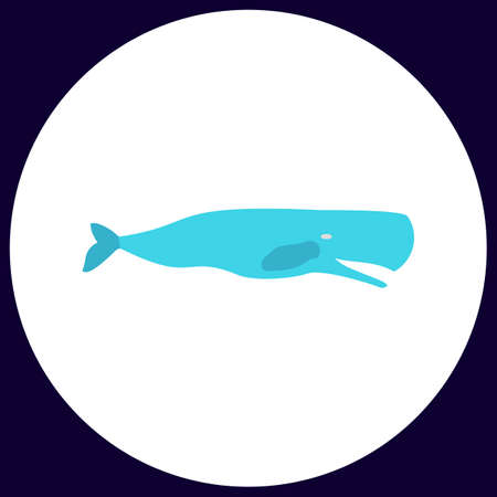 grampus: whale Simple vector button. Illustration symbol. Color flat icon Illustration