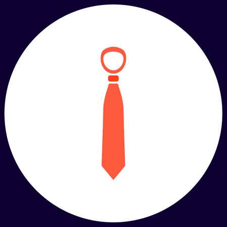 Tie Simple vector button. Illustration symbol. Color flat icon
