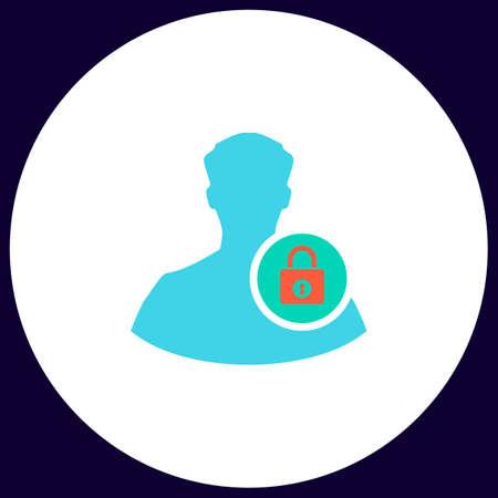 authenticate: authenticate Simple vector button. Illustration symbol. Color flat icon