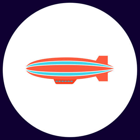 lite: blimp Simple vector button. Illustration symbol. Color flat icon